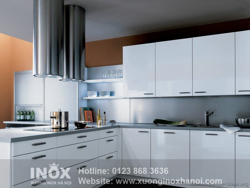kitchen-cabinets-modern-two-tone-199-A126b-white-brown-walls-steel-hood